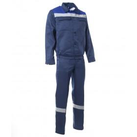 Летний костюм Стандарт 2 с СОП куртка и полукомбинезон темно-синий с васильком