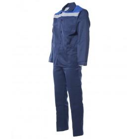 Летний костюм Стандарт с СОП куртка и брюки темно-синий с васильком