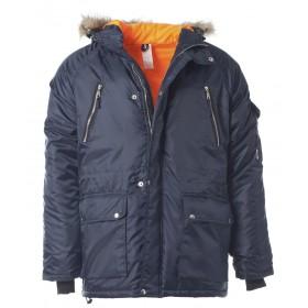 Утепленная куртка Аляска темно-синяя с капюшоном