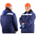 Утепленная куртка Бригадир темно-синий с васильком и манжетами на рукавах