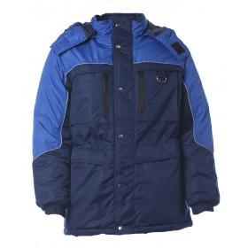 Утепленная куртка Вега синий с васильковой отделкой и капюшоном