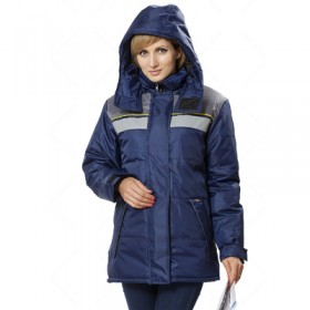 Утепленная женская куртка Эребус темно-синий с серым