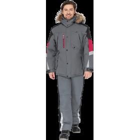 Утепленная куртка ХАЙ-ТЕК серая с черной и красной отделкой