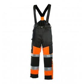Зимние светоотражающие брюки Dimex 6022 черные с оранжевым цветом