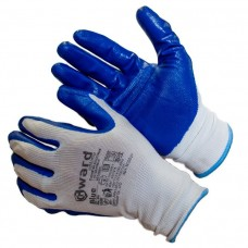 Перчатки из белого нейлона с синим нитриловым покрытием BLUE