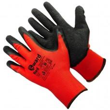 Перчатки нейлоновые с черным текстурированным латексом RED