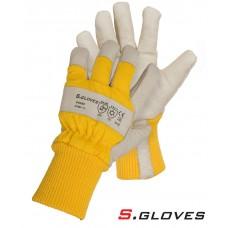 Кожаные утепленные комбинированные перчатки DOSSE