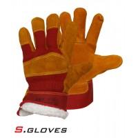 Спилковые комбинированные утепленные перчатки NEKKAR