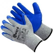 Перчатки хлопчатобумажные серые с синим текстурированным латексом Stoun
