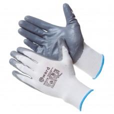 Перчатки из белого нейлона с серым нитриловым покрытием B-класса NITRO