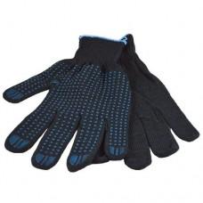 Перчатки хб 5 нити 10 класс ПВХ точка черные